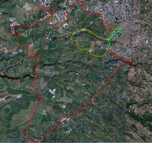 Viterbo - In rosso l'area da sottoporre a vincolo, in verde quella esistente