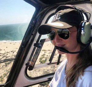 Rachele Contestabile a bordo di un elicottero