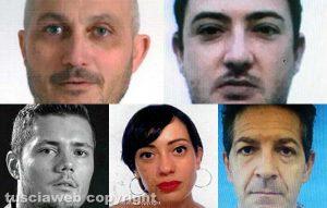 Mafia a Viterbo - Dall'alto: Luigi Forieri, Gabriele Laezza, Manuel Pecci, Martina Guadagno ed Emanuele Erasmi