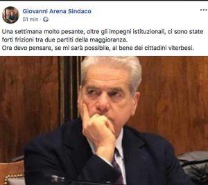 Il post del sindaco Giovanni Arena poco dopo la revoca delle deleghe a Claudia Nunzi
