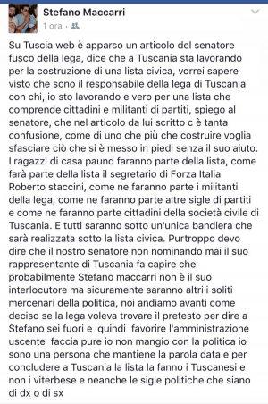 Viterbo - Il post di Stefano Maccarri su Facebook riguardante Umberto Fusco