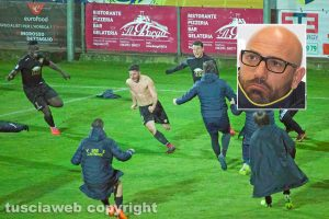 Sport - Calcio - Viterbese - L'esultanza di Mario Pacilli - Nel riquadro: Antonio Calabro