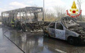 Bus a fuoco a Milano