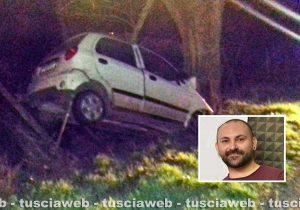 Montefiascone - Incidente mortale sulla strada per Fastello - Nel riquadro Giuliano Pagliacci