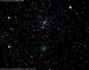 La cometa Iwamoto con ammasso stellare