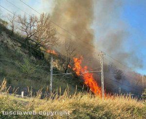 Incendio sulla ferrovia Orte - Civita Castellana