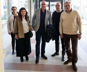 Mauro Rotelli, Chiara Colosimo e Alberto Riglietti in visita all'ospedale di Tarquinia