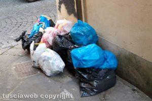 Viterbo - Sacchi della spazzatura in via del Riccio