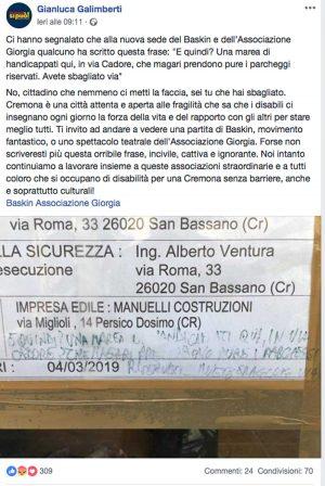 Cremona - Post su Facebook del sindaco