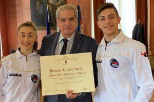 Sport - Pattinaggio artistico - Francesco Mascia e Gioia Fiori premiati dal sindaco di Viterbo