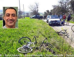 Tarquinia - Auto travolge gruppo di ciclisti - Nel riquadro: Roberto Petito