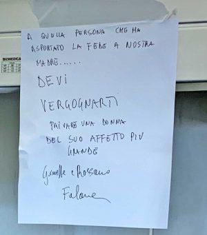 Viterbo - Il cartello messo dopo il furto della fede