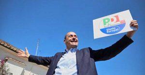 Nicola Zingaretti e il simbolo del Pd per le prossime elezioni europee