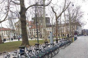 Lubiana - Un parcheggio di biciclette