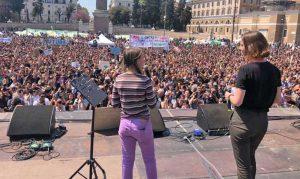 Roma - Greta Thunberg sul palco