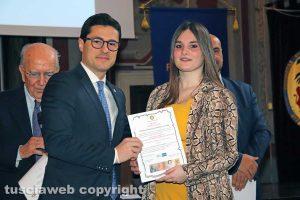 """Viterbo - Premio """"Viterbo che studia"""" - La studentessa Benedetta Proietti Zolla con Andrea Micci"""