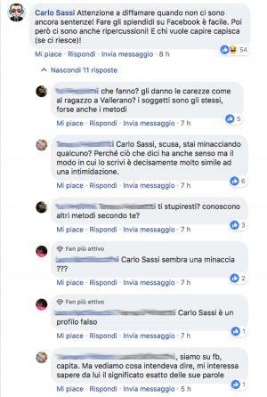 Violenza di gruppo - Il post Facebook minaccioso