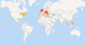 Cartina di down detector con le zone colpite dal malfunzionamento di Facebook
