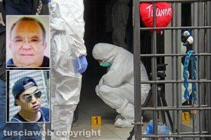 Omicidio in via San Luca - I rilievi della scientifica - Nei riquadri: Norveo Fedeli e Michael Aaron Pang