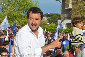 Il ministro Matteo Salvini a Tarquinia lido
