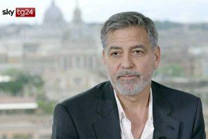 George Clooney a Roma intervistato da Sky Tg24