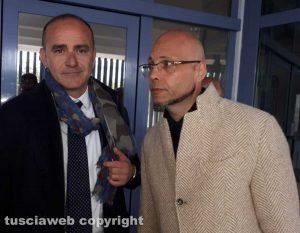 Gli avvocati Giovanni Labate e Valerio Mazzatosta all'uscita dal tribunale di Viterbo