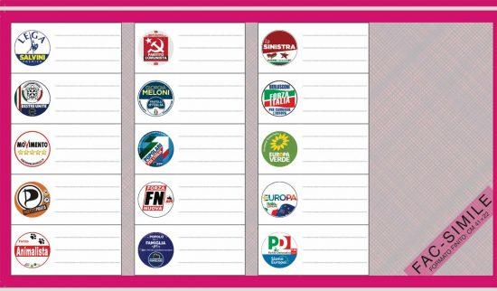 Elezioni europee 2019 - La scheda elettorale Circoscrizione Italia Centrale