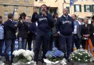 Sanremo - Comizio elettorale di Matteo Salvini