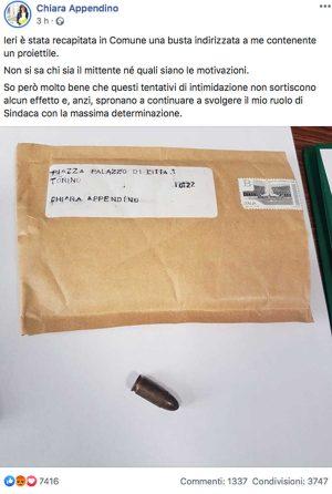 Torino - Il post di Chiara Appendino sulla busta con proiettile ricevuta in comune