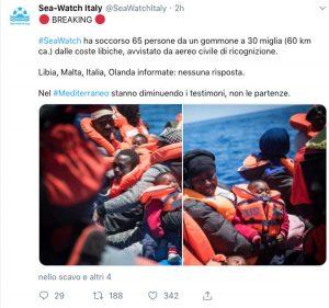 Il post di Sea watch sul salvataggio di 65 migranti
