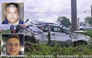 Civita Castellana - Incidente mortale in strada Falerina - Nei riquadri: Pierpaolo Bartoloni (in alto) e Stefano Federici