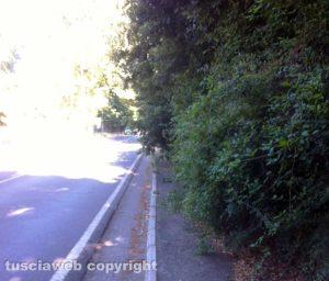 Il marciapiede su viale Fiume che collega la Quercia a Bagnaia