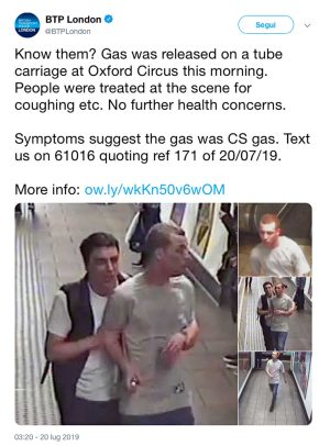 Attacco con gas lacrimogeno alla metropolitana di Londra