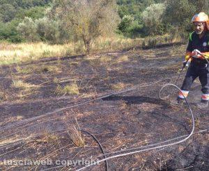 Sterpaglie in fiamme a Celleno