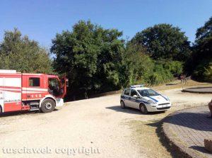 Vigili del fuoco e polizia locale al parco Treja adventure