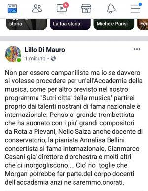 Il post di Lillo Di Mauro su Morgan a villa Savorelli