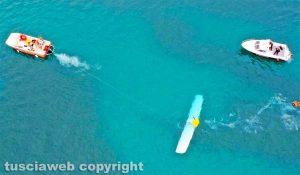 Bolsena - Idrovolante inabissato nel lago - Le operazioni di recupero