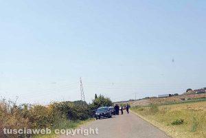 Tarquinia - Il punto dell'incidente in cui è rimasta coinvolta l'auto dei carabinieri