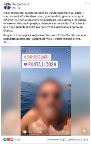 Salerno - Si riprende mentre getta una bottiglia in mare - Il post del ministro Costa