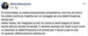 Il post di Silvio Berlusconi per la morte di Nadia Toffa