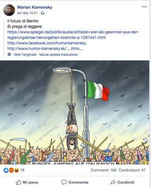 Il post di Marian Kamensky sulla vignetta provocatoria nei confronti di Salvini
