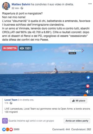Il post di Matteo Salvini sul caso Open arms