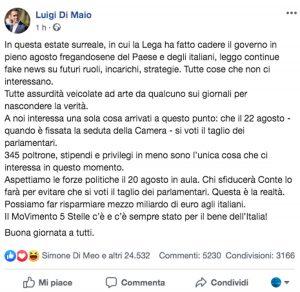 Il post di Luigi Di Maio che smentisce la promessa della poltrona di premier