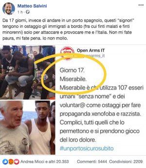 Il post di Matteo Salvini contro la ong Open arms