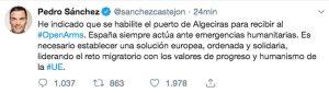 Il twitter del premier spagnolo Pedro Sancher