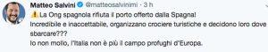 Il post di Matteo Salvini in risposta al portavoce di Open arms
