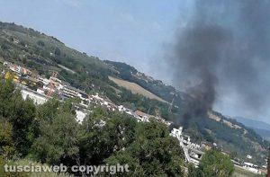 Orte - Incendio allo svincolo autostradale