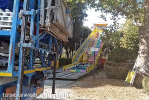 Viterbo - Santa Rosa - L'allestimento delle giostre a Pratogiardino