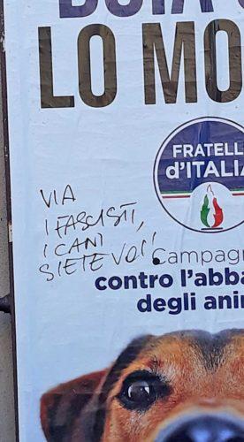 Il manifesto di FdI contro l'abbandono degli animali imbrattato dai vandali