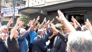 Napoli - Il saluto romano al funerale di Antonio Rastrelli